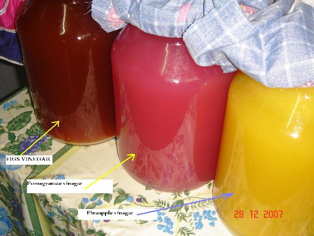 My favorite colors, Figs, Pomegranate & Pineapple vinegars